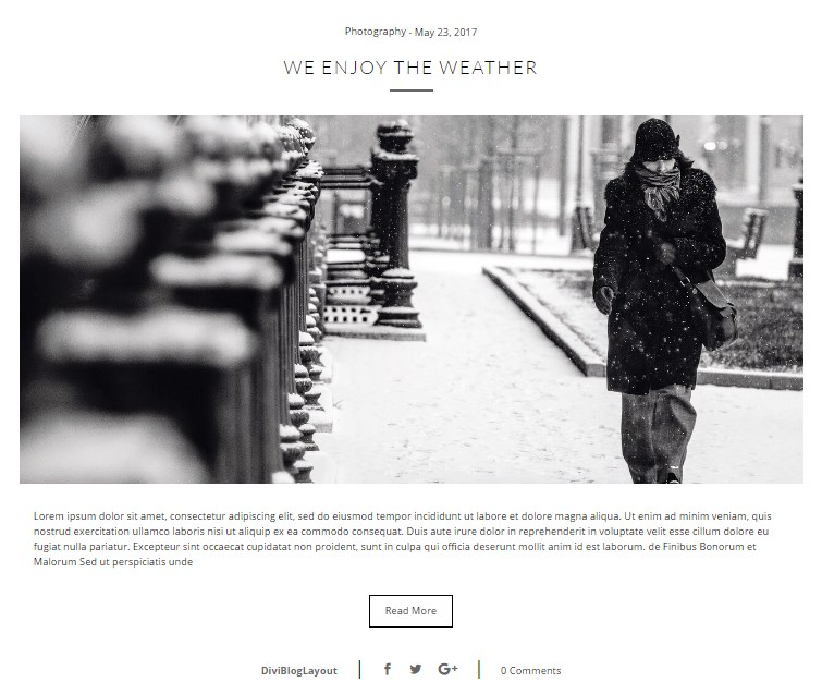 Divi Category Layout for Photography Blog