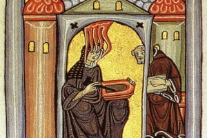 Image: Illumination from Scivias, by Hildegard von Bingen, ca. 1152.