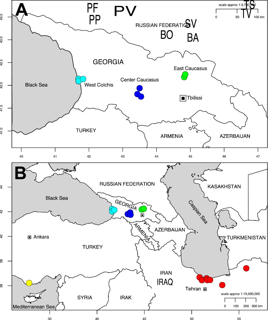Map of Georgia (A) pointing out the sampling sites for Alnus glutinosa subsp. barbata data-recalc-dims=