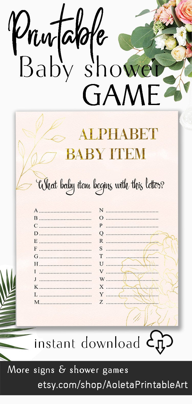 Baby Items Alphabet : items, alphabet, Alphabet, Shower, Game,, Items, PRINTABLE, Blush, Gold,, Games,, Letter, Aoleta