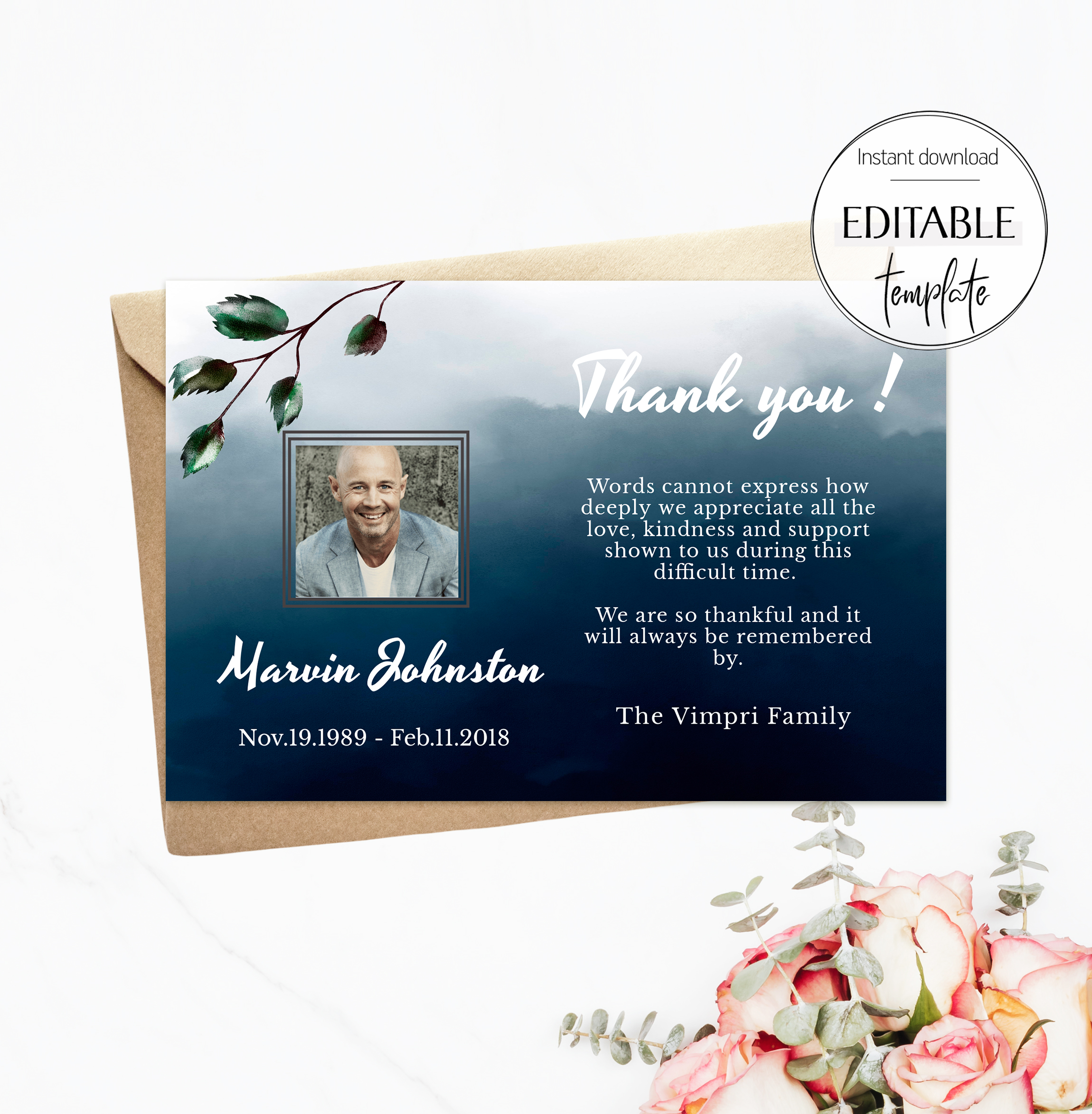 Editable Funeral Thank You Card for Men, Funeral Acknowledgement Regarding Sympathy Thank You Card Template