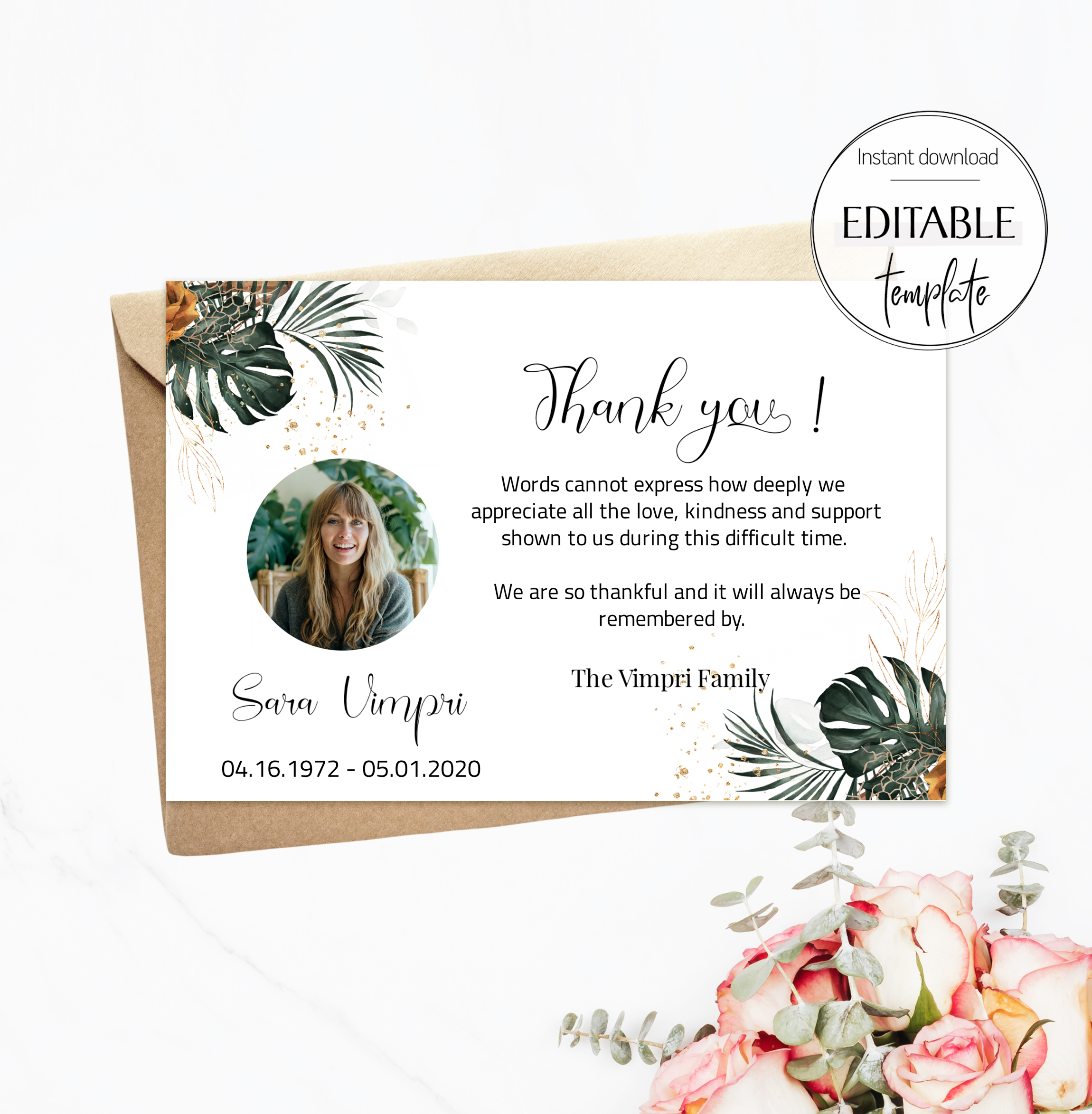 Cross Funeral Thank You Card, Printable Sympathy Thank You with Regarding Sympathy Thank You Card Template