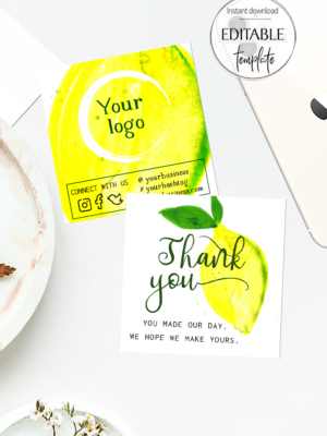 Yellow Thank you Business Packaging Card, Double Sided Insert Card Template, Etsy Seller Thank You Card Printable, Loyalty Card, Marketing