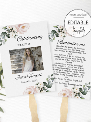 Celebration Fans Template, Memorial Party, Editable Funeral Fan Program, Remembrance Card, Printable Funerals Services, Mourning Cards F11