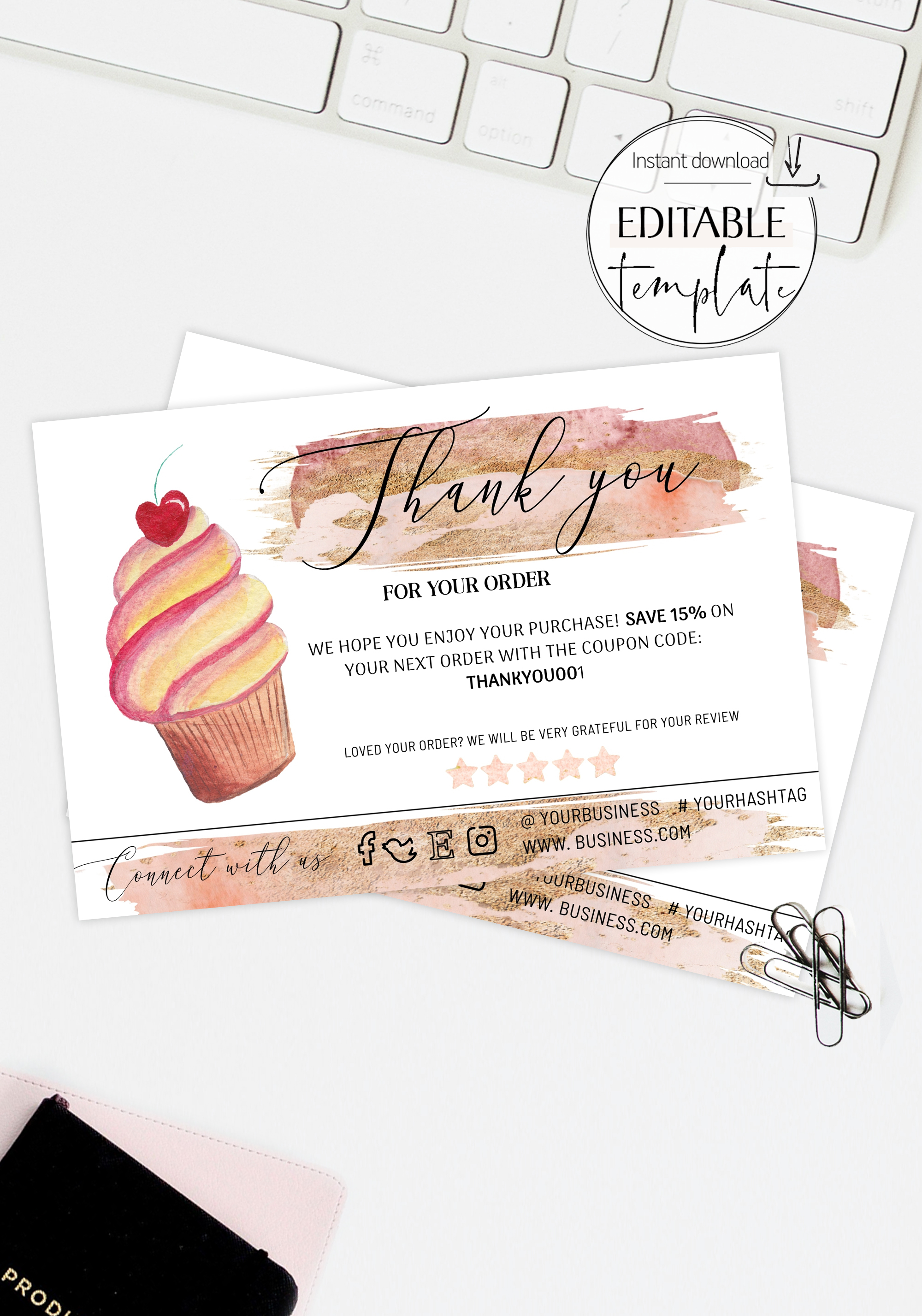 Cupcake Bakery Business Insert Card, Pink Gold Business Thank You Inside Cake Business Cards Templates Free
