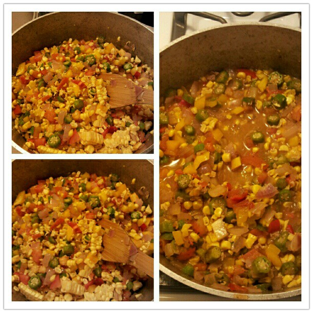 Okra, Corn & Tomato