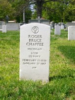 The headstone of Roger Bruce Chaffee at Arlington National Cemetery, Washington DC.