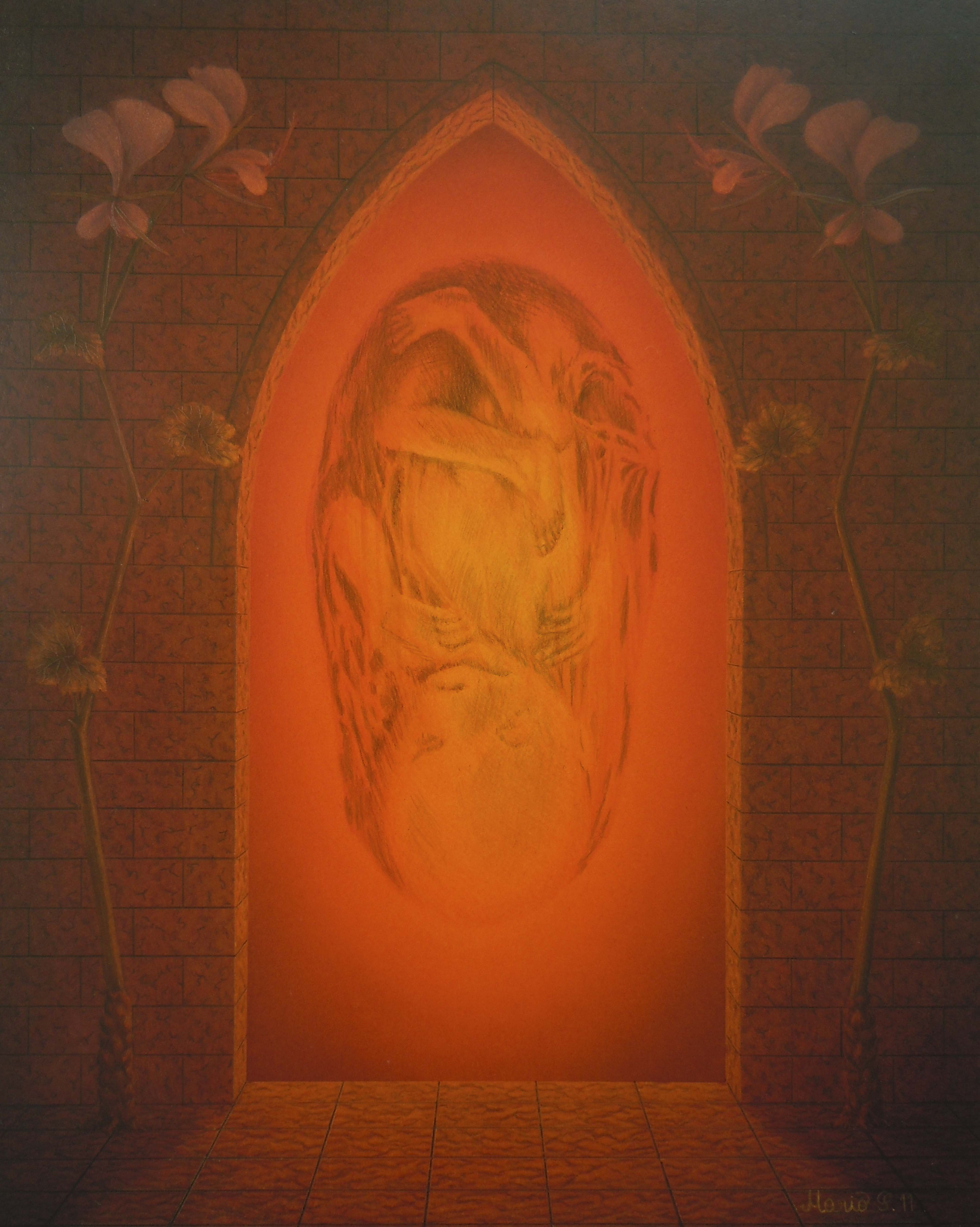 Glühend_Mario SCHLEINZER (25cmx20cm)Farbstift,Acryl,Harzölfarbe auf Hartfaserplatte
