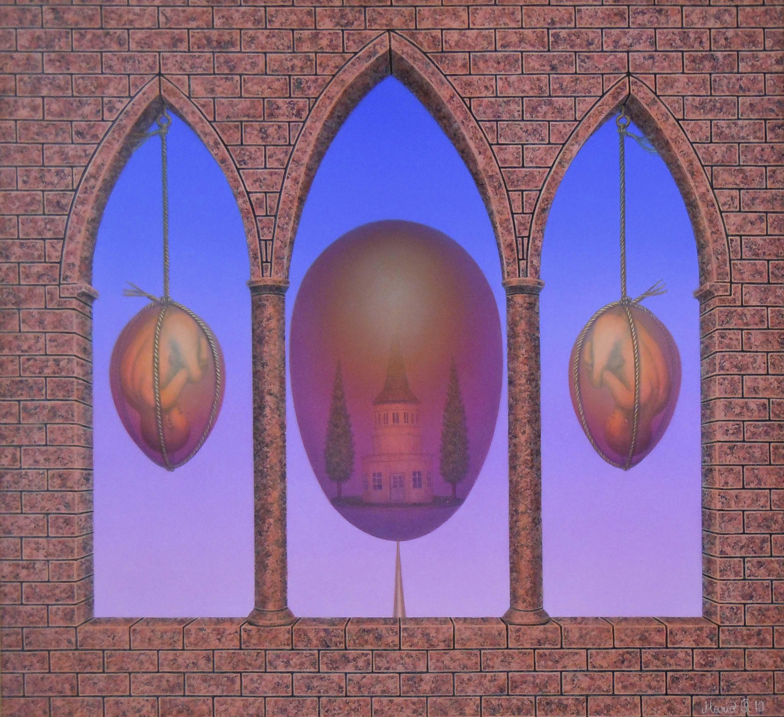 Mario Schleinzer: Kein gemeinsamer Zufluchtsort_Mario SCHLEINZER (34cmx38cm) Farbstift,Acryl-Harzölfarbe auf Hartfaserplatte | Art On Screen - [AOS] Magazine