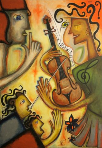 Maria Voican, Dreaming of Music, Acryl und Ölpastel auf Leinwand, 70x100cm, 2010Maria Voican, Das sechste Universum, Acryl und Ölpastel auf Leinwand, 100x120cm, 2010, [AOS] Magazine