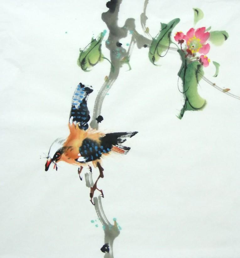 Yang qiaoling, Ink on Xuan Paper, Bird12, Size (40x40cm)2015