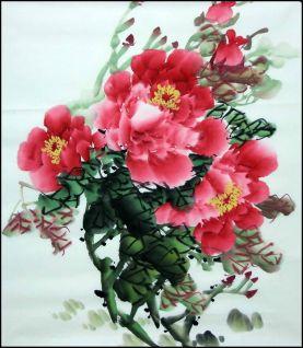 Yang qiaoling, Ink on Xuan Paper, Peony1, Size (50x50cm)2015
