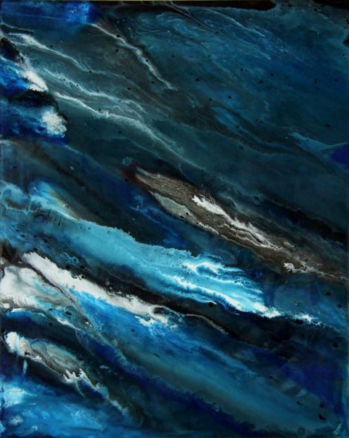 Sascha Weinberg: Aqua II, 50x40x1,8cm, Verlauftechnik, Acryl auf Leinwand, 2014   Art On Screen - [AOS] Magazine