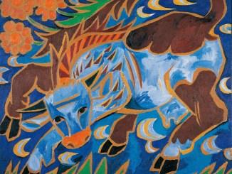 Bildgalerie zur Ausstellung Chagall bis Malewitsch, Natalia Gontscharowa, Die blaue Kuh, 1911, Wien, Albertina - Sammlung Batliner