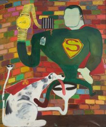 Peter Saul, amerikanischer pop art maler, Peter Sauls Werke, Superman and Superdog in Jail