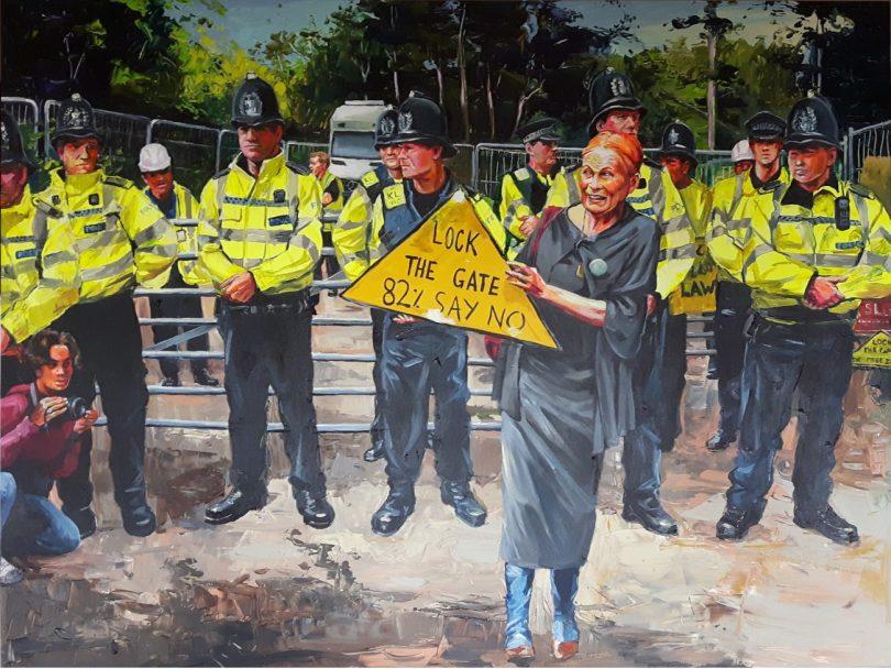 Enke Caecilie Jansson, Westwood against fracking 160x120cm © Enke Caecilie Jansson - Art On Screen - NEWS - [AOS] Magazine