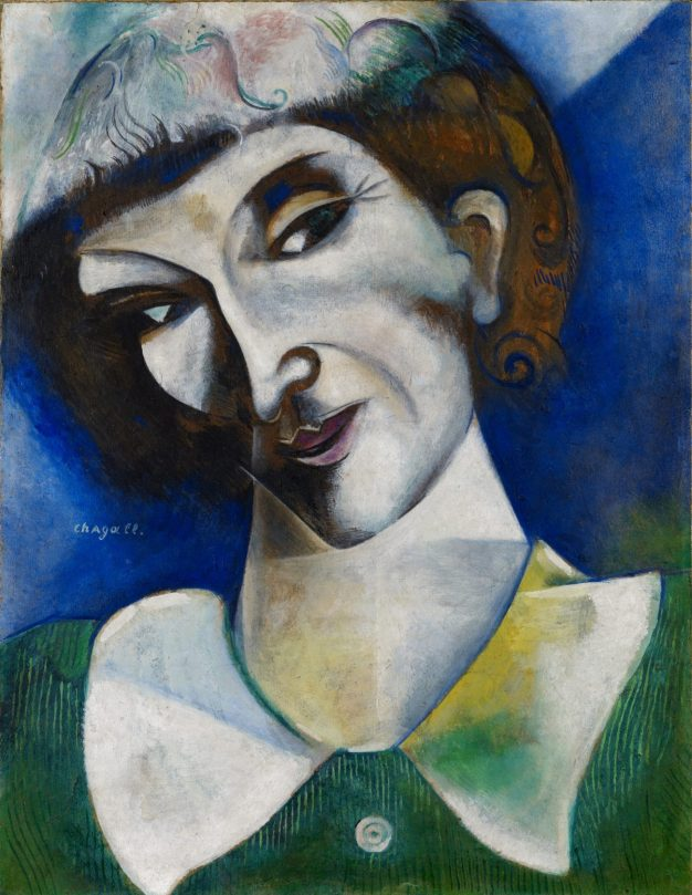 Marc Chagall Ausstellung, Selbstbildnis (Portrait de l'artiste), 1914, Öl auf Karton, auf Leinwand aufgezogen, Art On Screen - News - [AOS] Magazine