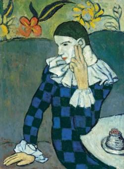Der junge Pablo Picasso, Blaue und Rosa Periode, PABLO PICASSO, ARLEQUIN ASSIS