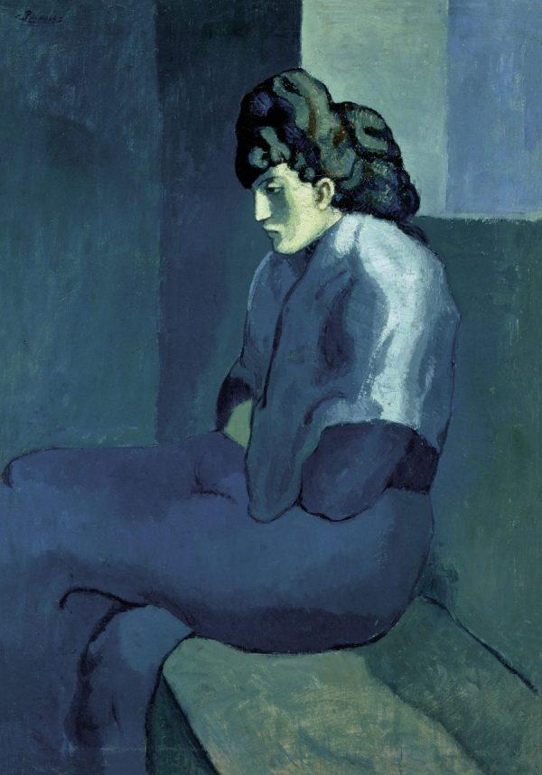 Picasso in Blau und Rosa, PABLO PICASSO, FEMME ASSISE AU FICHU, Fondation Beyler