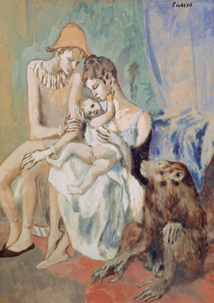 Der junge Pablo Picasso, Blaue und Rosa Periode, PABLO PICASSO, FAMILLE DE SALTIMBANQUES AVEC UN SINGE
