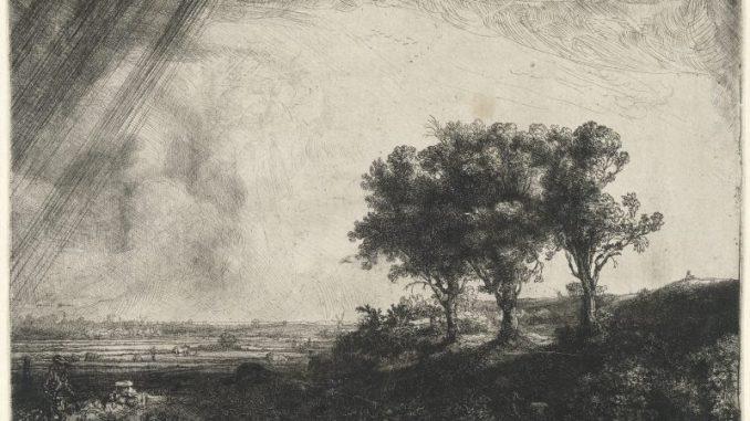 Rembrandt Meisterwerke, Rembrandt - Die drei Bäume, Radierung, Kupferstich und Kaltnadel, Zeichnungen, Rembrandt Ausstellung, Hamburger Kunsthalle, rembrandt harmenszoon van rijn