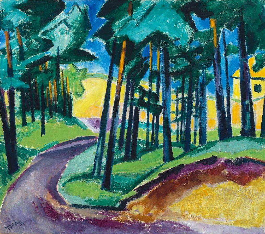 MAX PECHSTEIN, Das gelbe Haus: Waldausgang mit Hochsommerdüne, Deutscher Expressionismus, Ausstellung im Leopold Museum