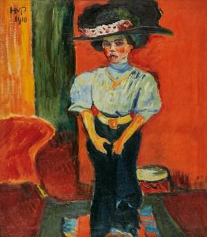 MAX PECHSTEIN 1881–1955, Junge Dame mit Federhut, Deutscher Expressionismus, Ausstellung im Leopold Museum