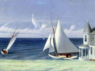 Edward Hopper, Lee Shore, Hoper Ausstellung, Edward Hopper Kunstwerke, Hoppers Landschaftsgemälde, edward hopper segelboot