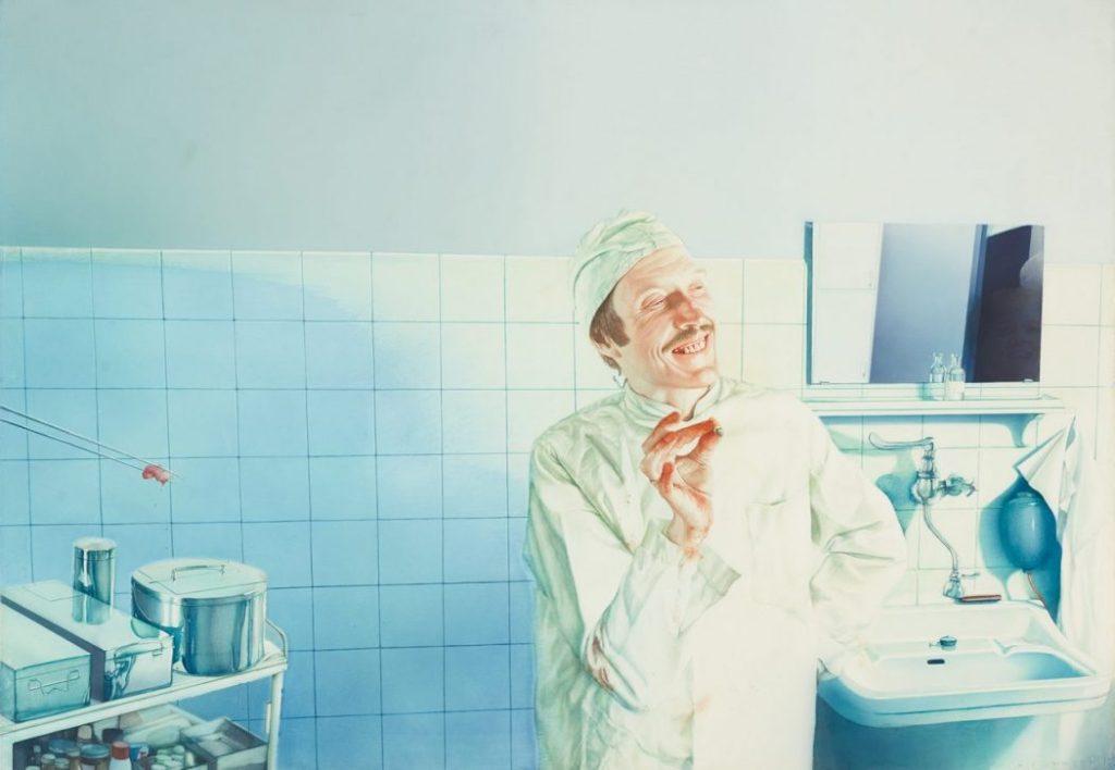 Gottfried Helnwein, Der höhnische Arzt, The Beginning, Albertina Modern,