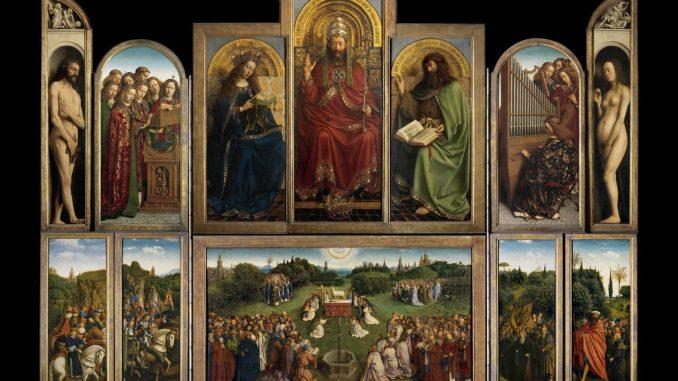 Jan van Eyck, Genter Altar, Flügelaltar, Saint-Bavo's Cathedral Ghent, Die Anbetung des Lamm Gottes