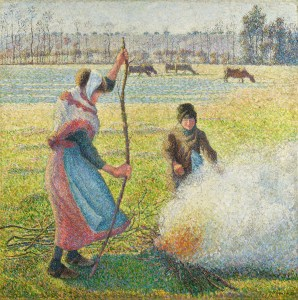 Camille Pissarro, Raureif, eine junge Bäuerin macht Feuer, Impressionismus,