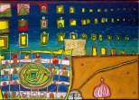Friedensreich Hundertwasser, Heimweh der Fenster - Heimweh ins Meer (611), 1964, Mischtechnik auf Papier, montiert auf Jute, 70 x 97 cm, Foto Photoatelier Laut, Wien, ©NAMIDA AG, Glarus-Schweiz