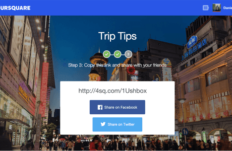 Foursquare Trip Tips Share