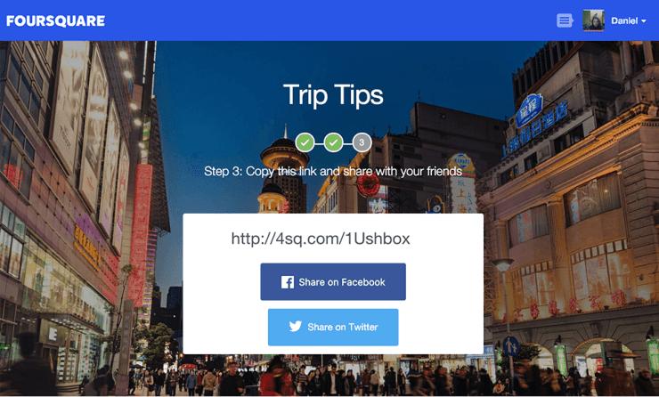 Foursquare Trip Tips Share