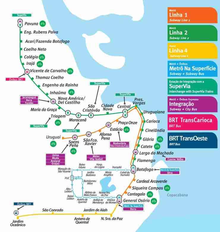 Mapa do Metro do Rio Tamanho Grande