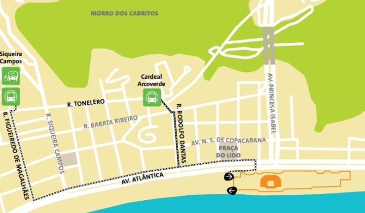 como chegar a copacabana olimpiadas-mapa-volei de areia
