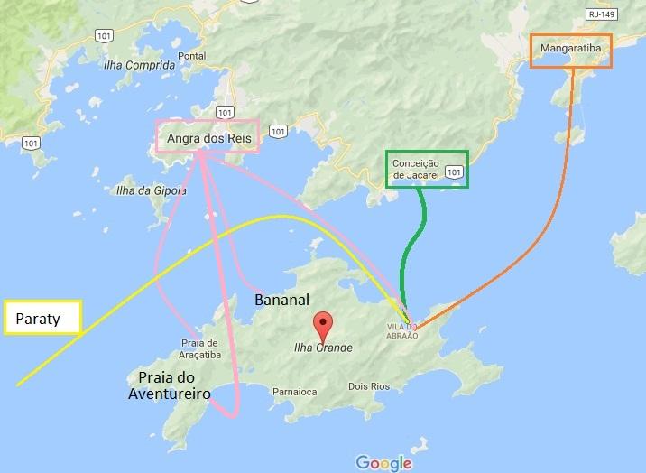 Como chegar a Ilha Grande saindo de Cais, Angra, Magaratiba e Paraty