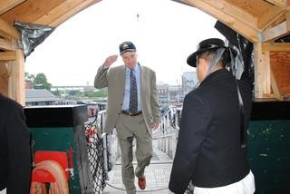 Archivist stepping aboard Old Ironsides