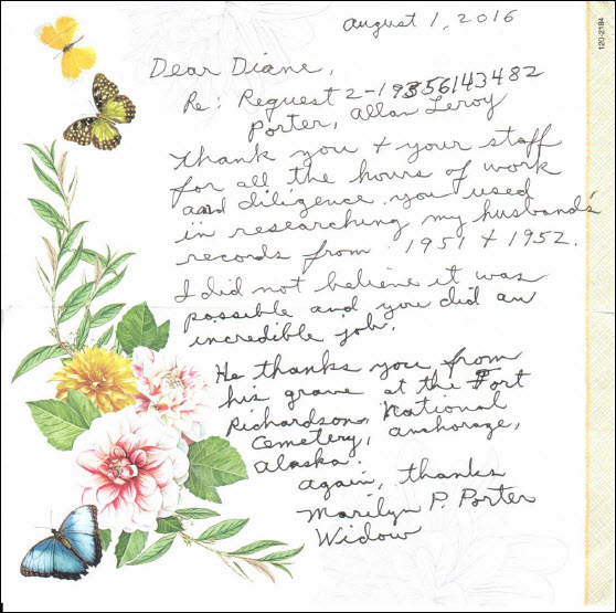 Letter thanking National Archives staff for assistance sending military service records to widow