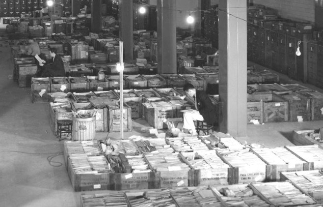 Records temporarily stored in National Archives Building, 1937