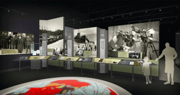 Photograph showing the exhibit space inside the Eisenhower Library and Museum. The exhibit shows photos documenting Eisenhower's career.