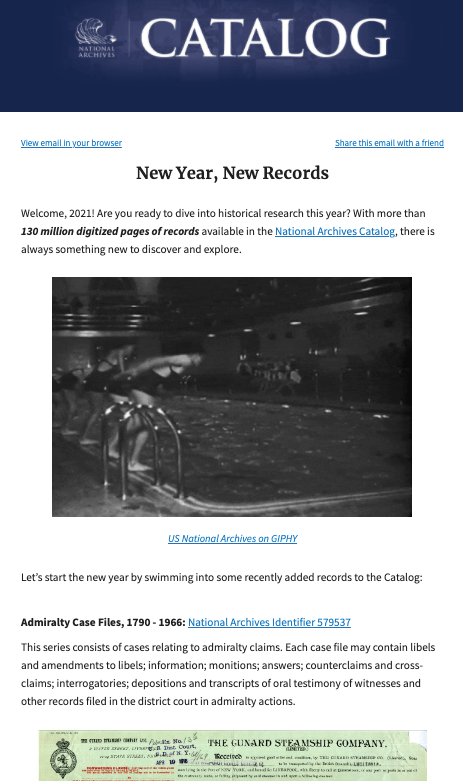 Screenshot of Catalog newsletter issue featuring new records available in the Catalog