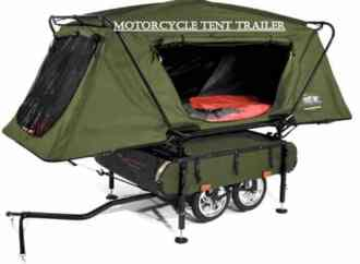 Motorcycle pop up tent trailers are super mobile, light and cheap rv. When looking at buying an RV for your motorcycle these are the type of pop up campers your looking for. You can find them on craigslist for a couple hundred dollars to a couple thousand dollars. The cheapest craigslist to find these popup motorcycle trailers are whitefish craigslist in montana. Most motorcycle popup camper trailers usually have some type of storage below the popup tent feature. SOme minimal storage around the trailer and a sleeping area. My favorite is the motorcycle tent cot trailer with storage. Weighs less then 300 pounds and only costs $200 on amazon. If your buying an RV for your motorcycle then you need to check out my buying an RV guide at aowanders.