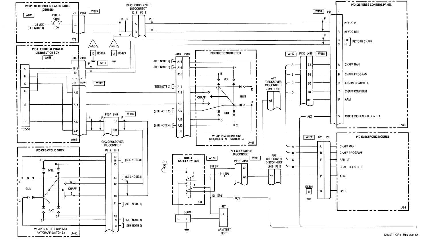 7 1 Chaff Dispenser Wiring Diagram Sheet 1 Of 2 M50 229 1a