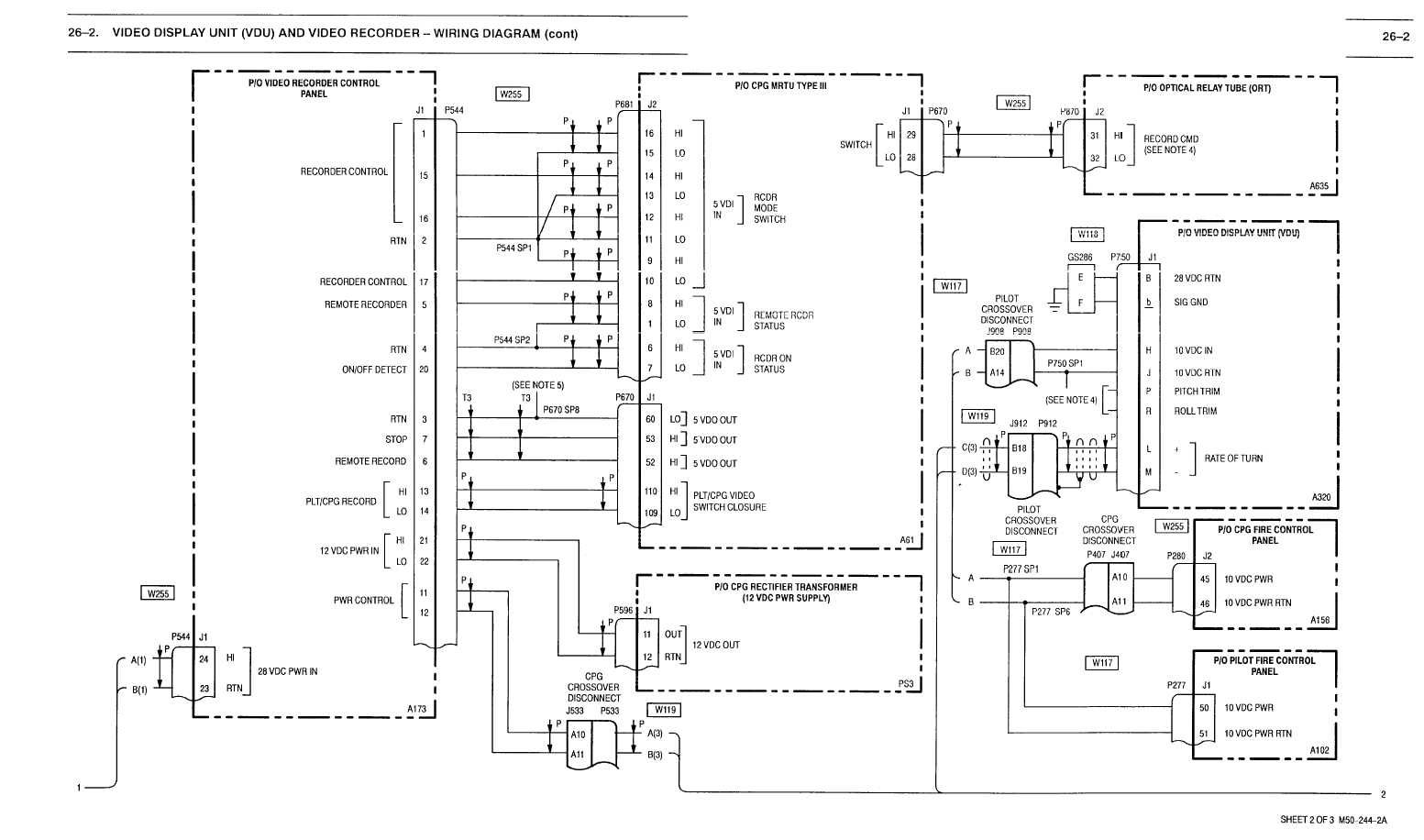 26 2 Video Display Unit Vdu And Video Recorder Wiring Diagram Cont