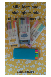 Mildliners and highlighters for colour coding in a planner or journal