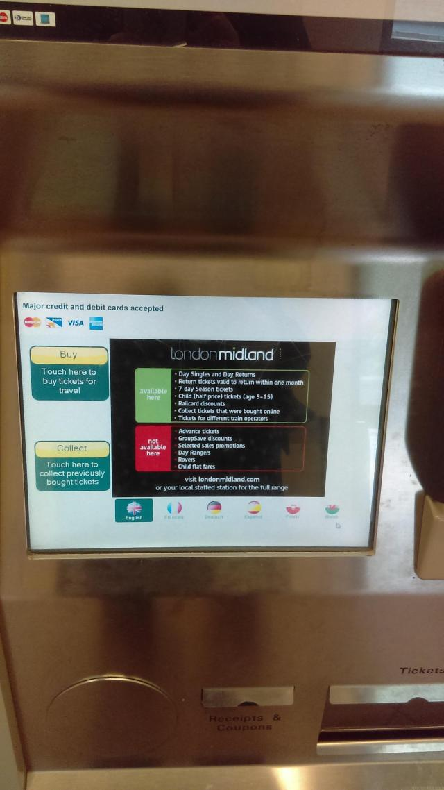 UK Ticket Machine at Local Rail Stations