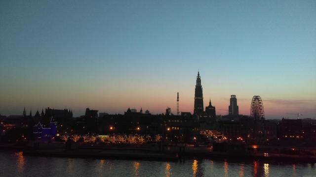 Belgium from the water - leaving Antwerp at sunset