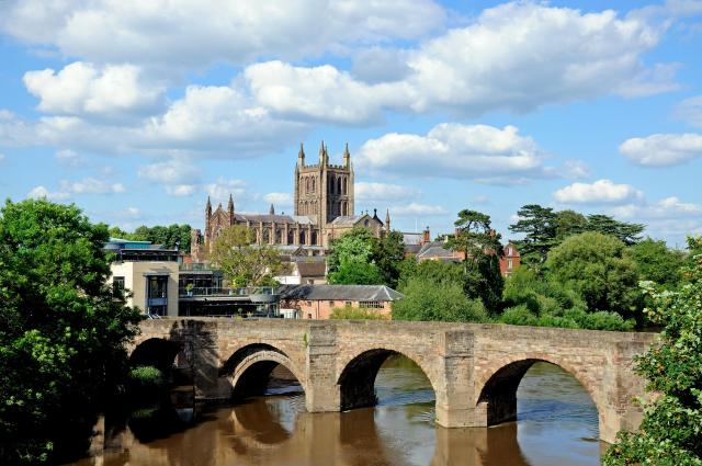 Discovering Herefordshire's Hidden Black And White Villages - Hereford Cathedral, the old Wye Bridge and River Wye, Hereford