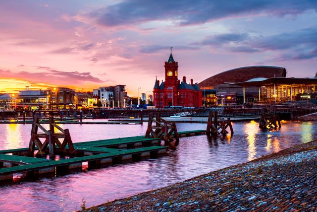 Cardiff Bay waterfront at night